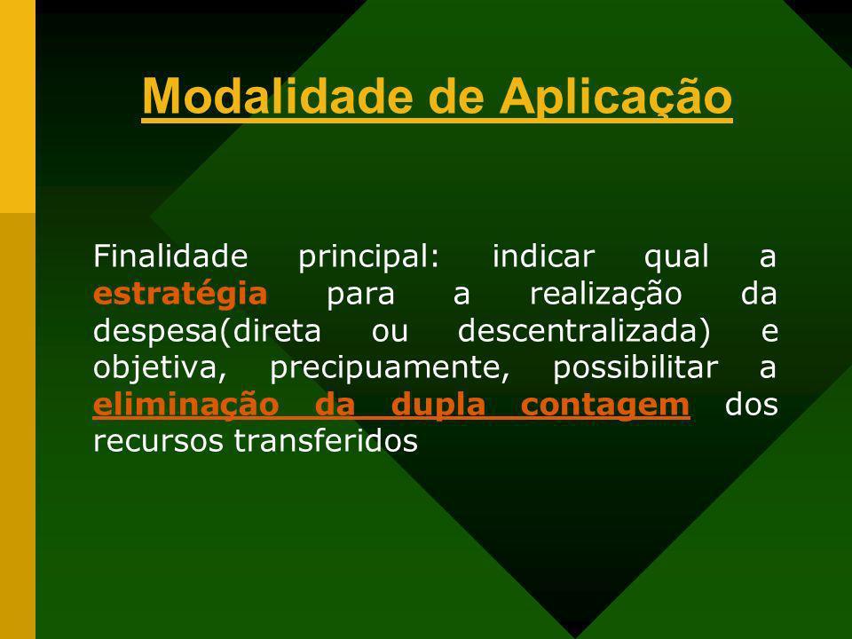 Modalidade de Aplicação Finalidade principal: indicar qual a estratégia para a realização da despesa(direta ou descentralizada) e objetiva, precipuame