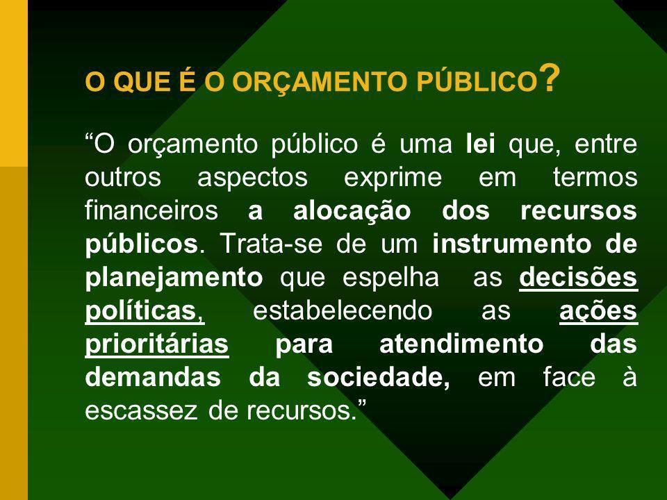 O QUE É O ORÇAMENTO PÚBLICO ? O orçamento público é uma lei que, entre outros aspectos exprime em termos financeiros a alocação dos recursos públicos.