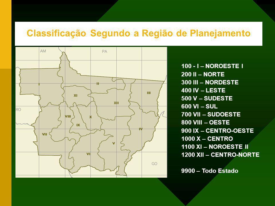 Classificação Segundo a Região de Planejamento 100 - I – NOROESTE I 200 II – NORTE 300 III – NORDESTE 400 IV – LESTE 500 V – SUDESTE 600 VI – SUL 700