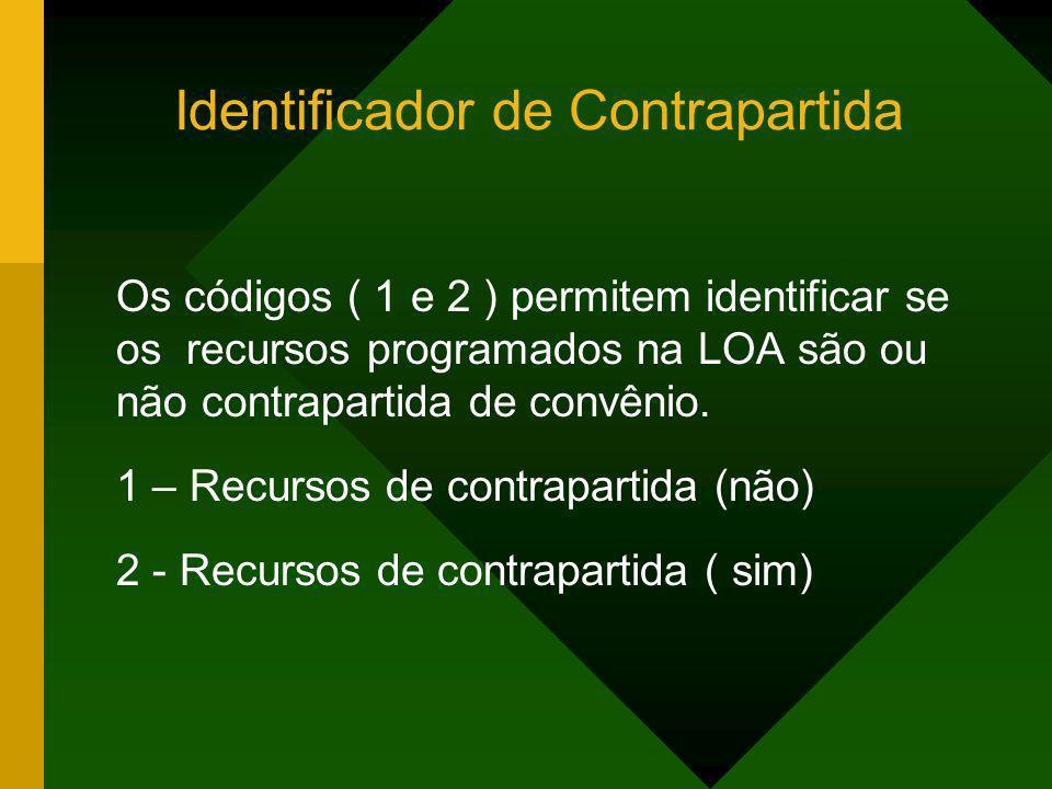 Identificador de Contrapartida Os códigos ( 1 e 2 ) permitem identificar se os recursos programados na LOA são ou não contrapartida de convênio. 1 – R