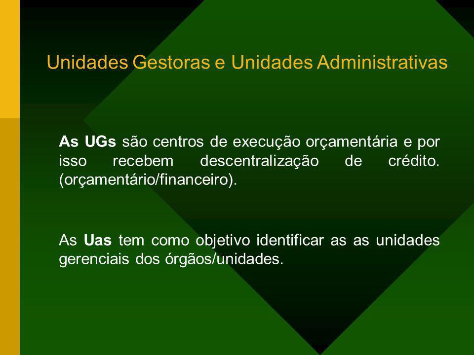 Unidades Gestoras e Unidades Administrativas As UGs são centros de execução orçamentária e por isso recebem descentralização de crédito. (orçamentário