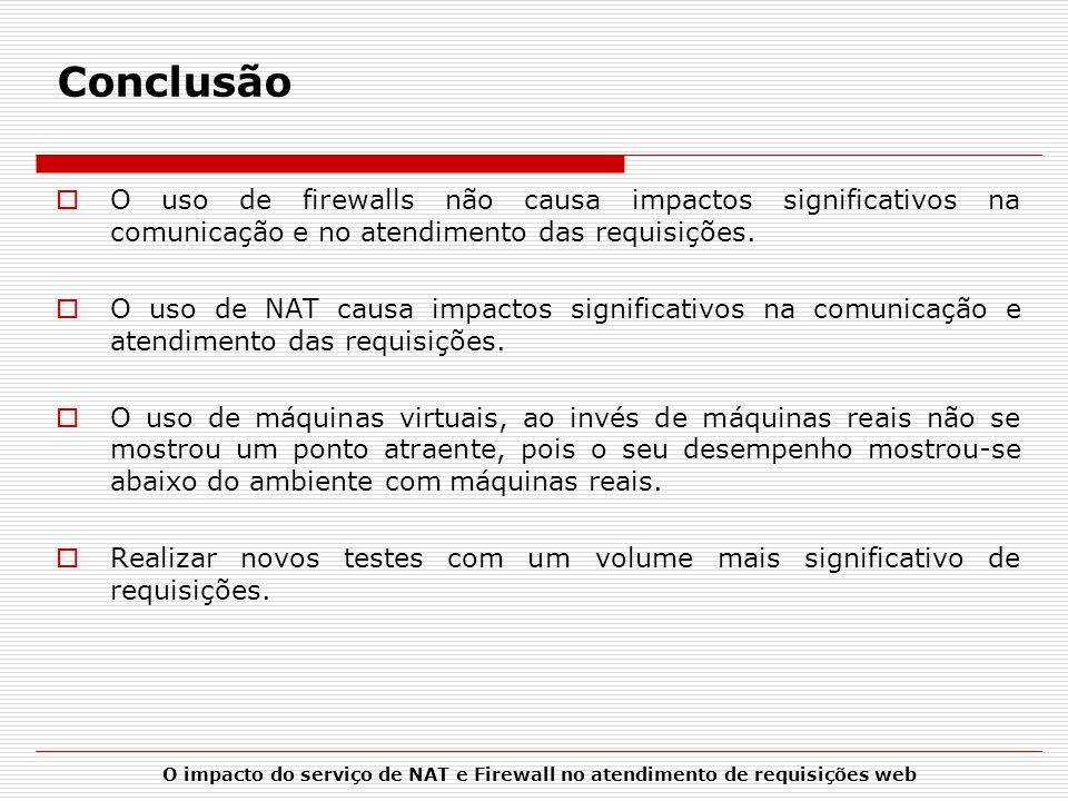 O impacto do serviço de NAT e Firewall no atendimento de requisições web Conclusão O uso de firewalls não causa impactos significativos na comunicação