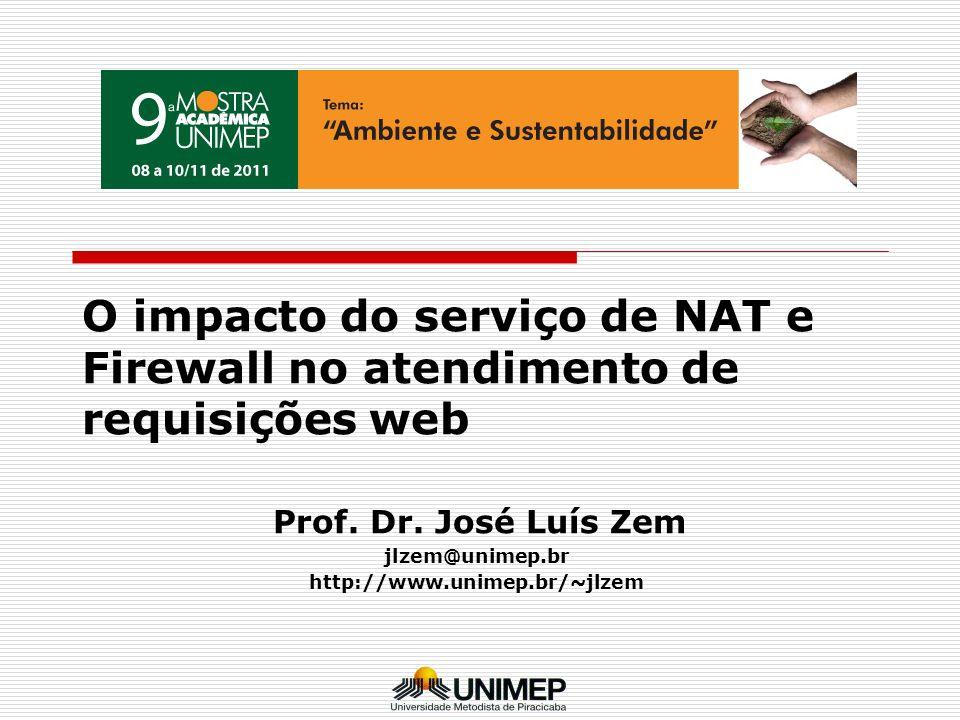 O impacto do serviço de NAT e Firewall no atendimento de requisições web Prof. Dr. José Luís Zem jlzem@unimep.br http://www.unimep.br/~jlzem