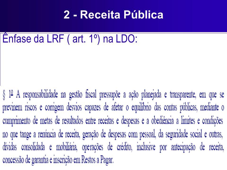 2 - Receita Pública Ênfase da LRF ( art. 1º) na LDO: