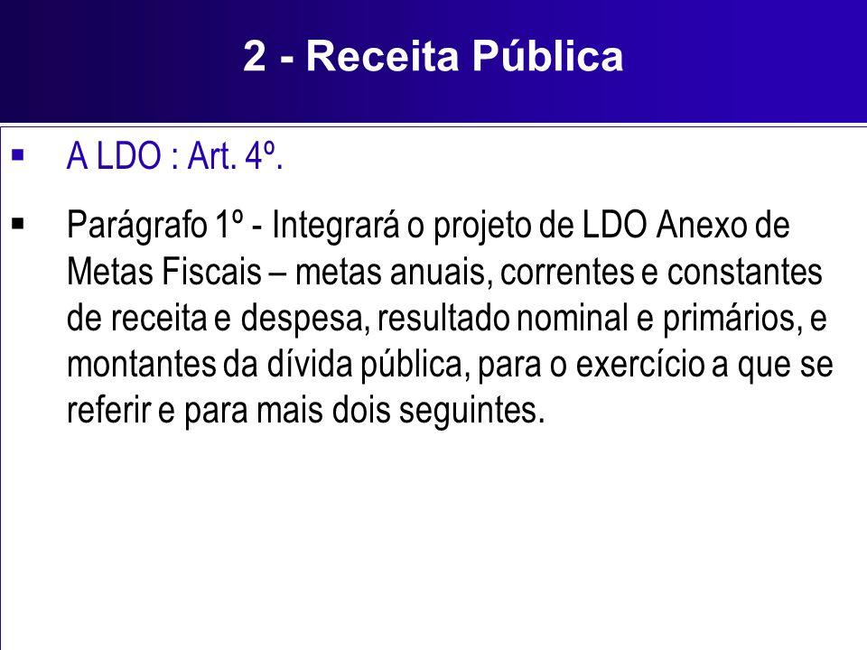 2 - Receita Pública A LDO : Art. 4º. Parágrafo 1º - Integrará o projeto de LDO Anexo de Metas Fiscais – metas anuais, correntes e constantes de receit