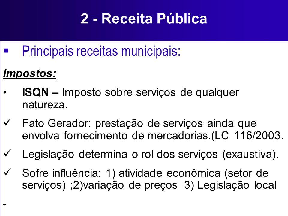 2 - Receita Pública Principais receitas municipais: Impostos: ISQN – Imposto sobre serviços de qualquer natureza. Fato Gerador: prestação de serviços