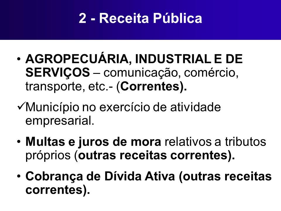 2 - Receita Pública AGROPECUÁRIA, INDUSTRIAL E DE SERVIÇOS – comunicação, comércio, transporte, etc.- (Correntes). Município no exercício de atividade