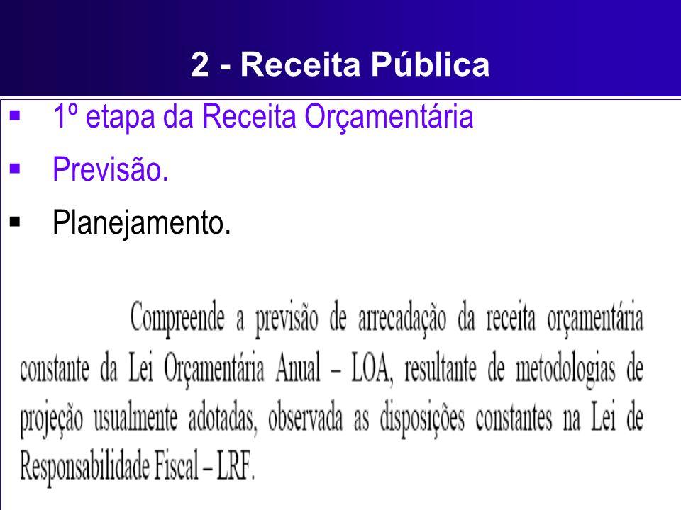 2 - Receita Pública 1º etapa da Receita Orçamentária Previsão. Planejamento.