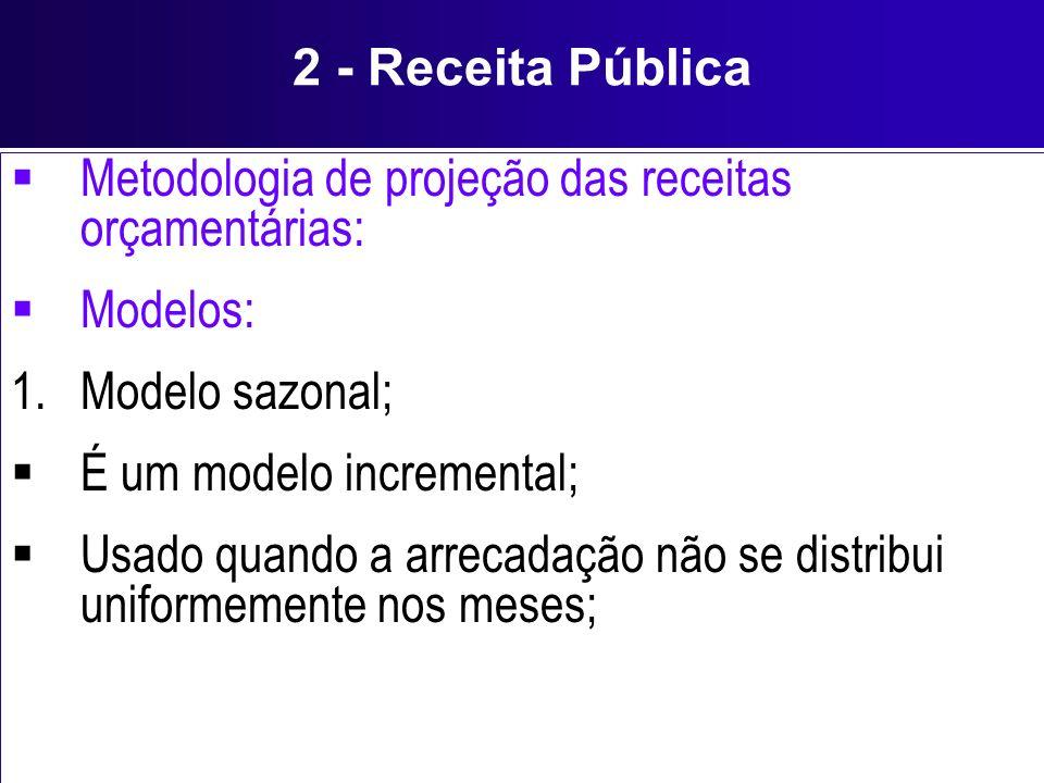 2 - Receita Pública Metodologia de projeção das receitas orçamentárias: Modelos: 1.Modelo sazonal; É um modelo incremental; Usado quando a arrecadação