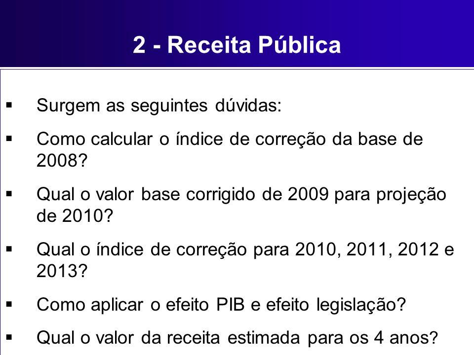 2 - Receita Pública Surgem as seguintes dúvidas: Como calcular o índice de correção da base de 2008? Qual o valor base corrigido de 2009 para projeção
