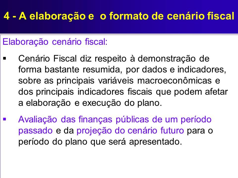 4 - A elaboração e o formato de cenário fiscal Elaboração cenário fiscal: Cenário Fiscal diz respeito à demonstração de forma bastante resumida, por d