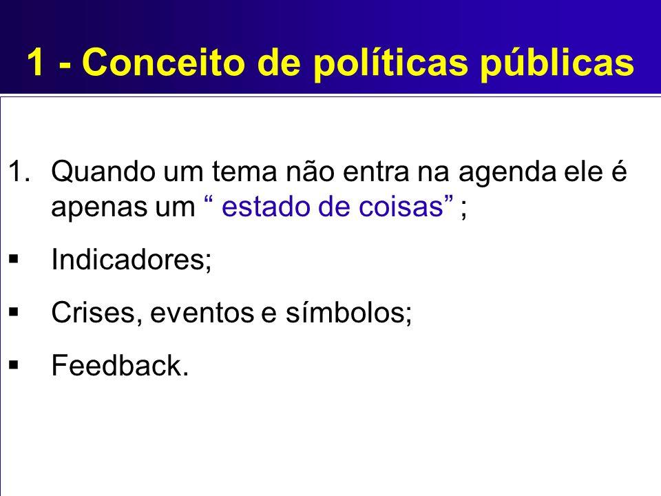1 - Conceito de políticas públicas 1.Quando um tema não entra na agenda ele é apenas um estado de coisas ; Indicadores; Crises, eventos e símbolos; Fe
