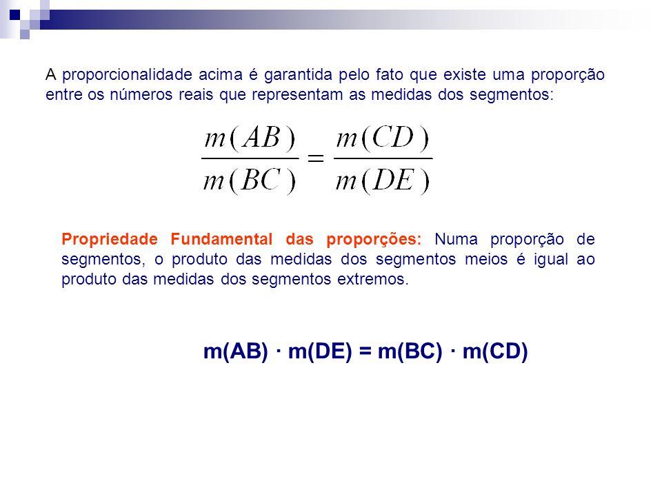A proporcionalidade acima é garantida pelo fato que existe uma proporção entre os números reais que representam as medidas dos segmentos: Propriedade