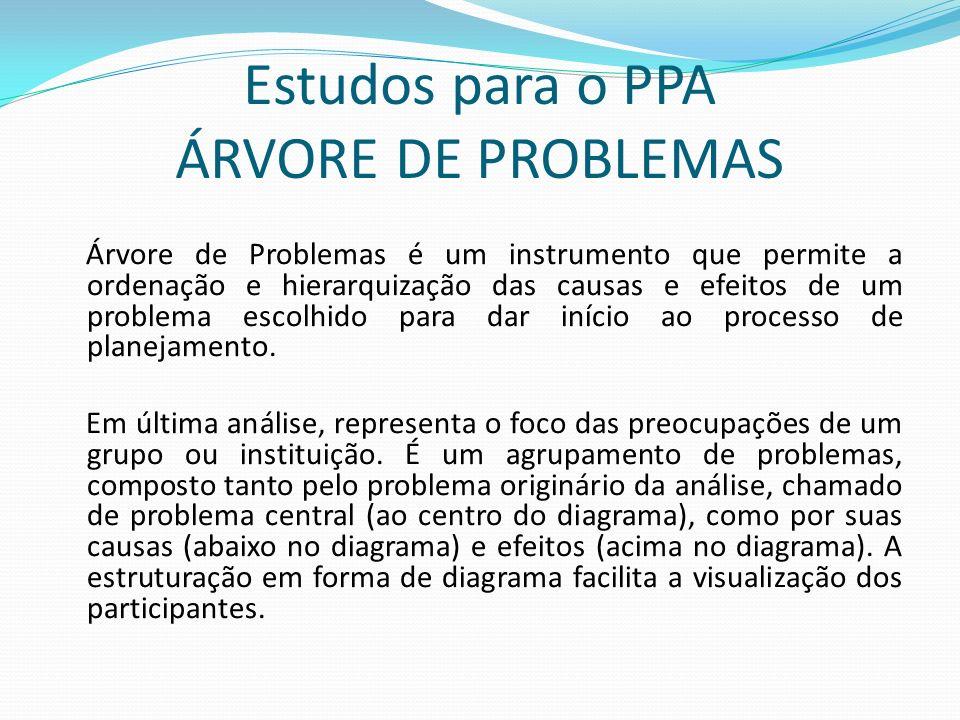 Estudos para o PPA ÁRVORE DE PROBLEMAS Árvore de Problemas é um instrumento que permite a ordenação e hierarquização das causas e efeitos de um problema escolhido para dar início ao processo de planejamento.