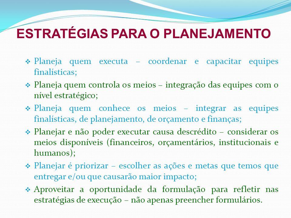 ESTRATÉGIAS PARA O PLANEJAMENTO Planeja quem executa – coordenar e capacitar equipes finalísticas; Planeja quem controla os meios – integração das equ