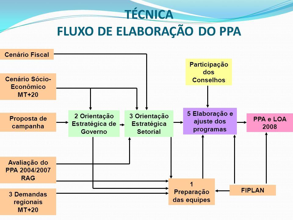 TÉCNICA FLUXO DE ELABORAÇÃO DO PPA Cenário Fiscal Cenário Sócio- Econômico MT+20 Avaliação do PPA 2004/2007 RAG Proposta de campanha 3 Demandas region