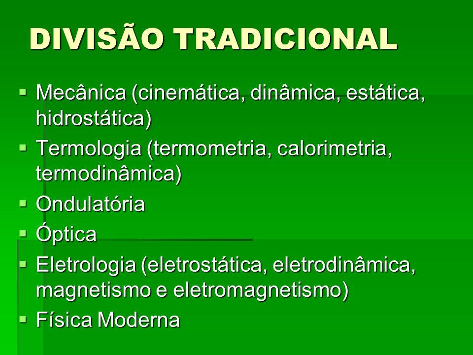 DIVISÃO TRADICIONAL Mecânica (cinemática, dinâmica, estática, hidrostática) Mecânica (cinemática, dinâmica, estática, hidrostática) Termologia (termom