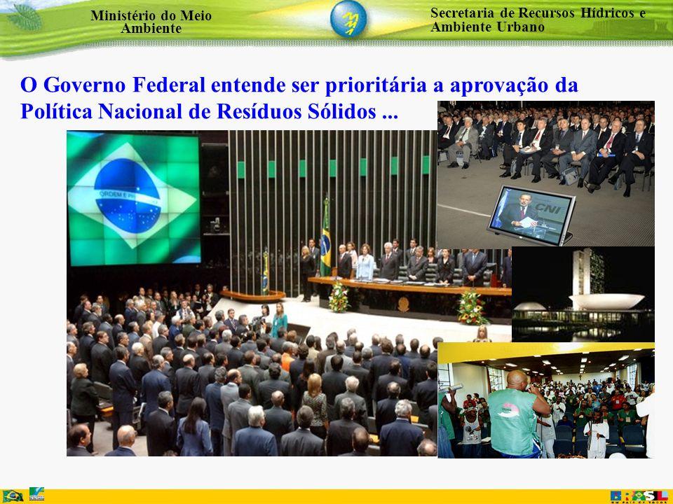 Secretaria de Recursos Hídricos e Ambiente Urbano Ministério do Meio Ambiente O Governo Federal entende ser prioritária a aprovação da Política Nacion
