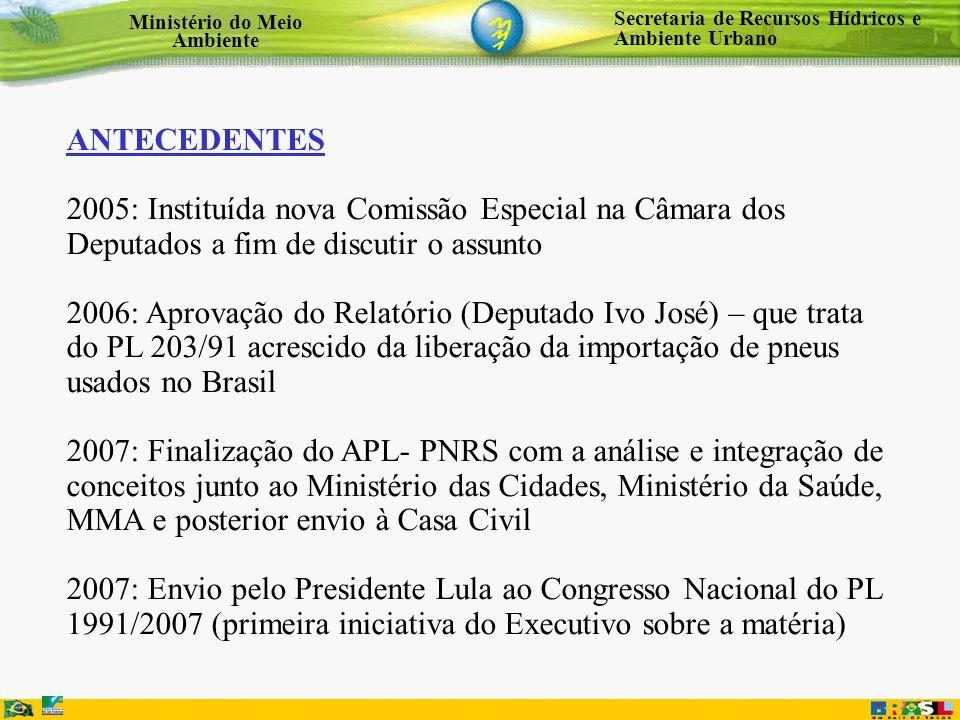 Secretaria de Recursos Hídricos e Ambiente Urbano Ministério do Meio Ambiente ANTECEDENTES 2005: Instituída nova Comissão Especial na Câmara dos Deput