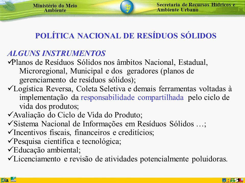 Secretaria de Recursos Hídricos e Ambiente Urbano Ministério do Meio Ambiente POLÍTICA NACIONAL DE RESÍDUOS SÓLIDOS ALGUNS INSTRUMENTOS Planos de Resí