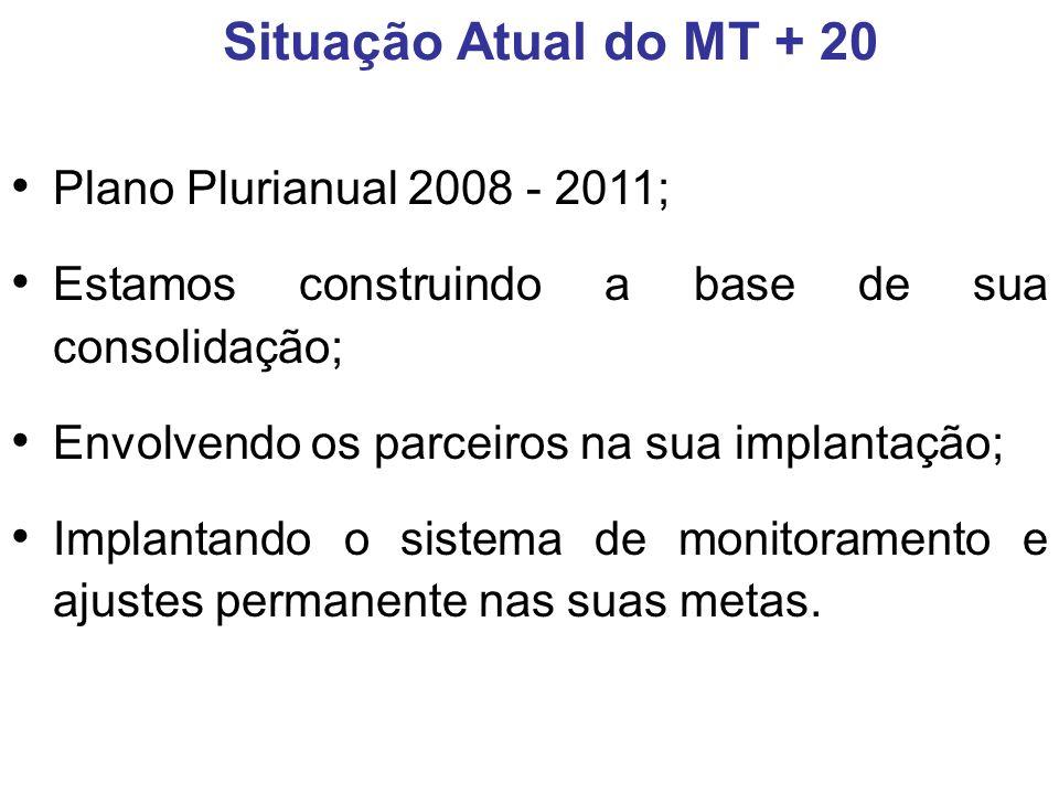 Plano Plurianual 2008 - 2011; Estamos construindo a base de sua consolidação; Envolvendo os parceiros na sua implantação; Implantando o sistema de monitoramento e ajustes permanente nas suas metas.