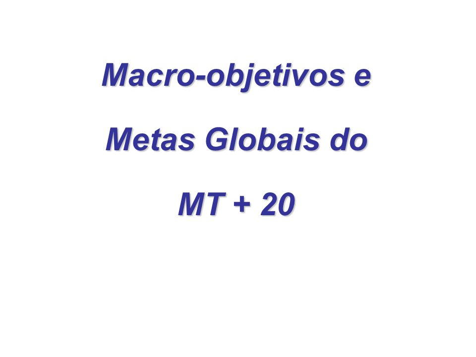 Macro-objetivos e Metas Globais do MT + 20