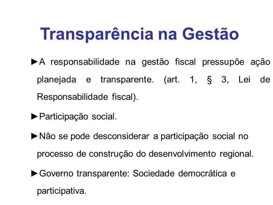 A responsabilidade na gestão fiscal pressupõe ação planejada e transparente. (art. 1, § 3, Lei de Responsabilidade fiscal). Participação social. Não s