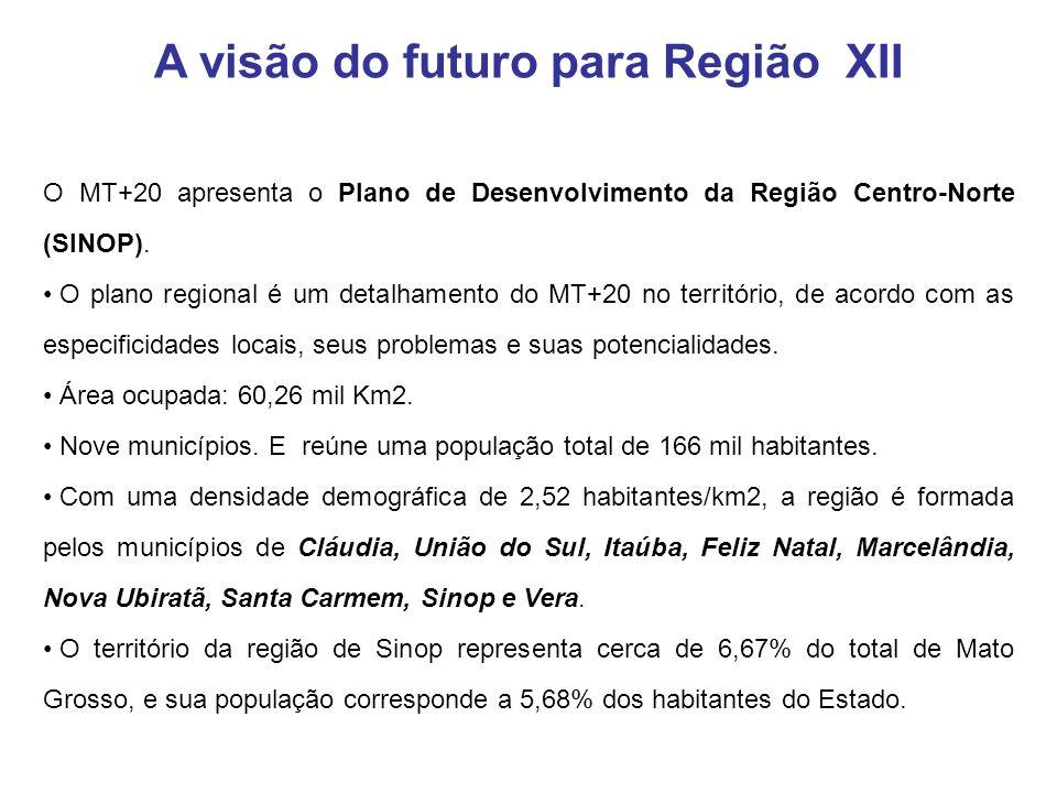 O MT+20 apresenta o Plano de Desenvolvimento da Região Centro-Norte (SINOP). O plano regional é um detalhamento do MT+20 no território, de acordo com