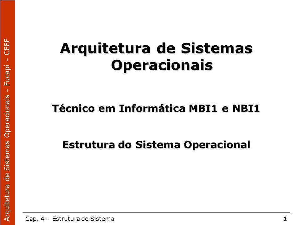 Arquitetura de Sistemas Operacionais – Fucapi – CEEF Cap. 4 – Estrutura do Sistema1 Arquitetura de Sistemas Operacionais Técnico em Informática MBI1 e