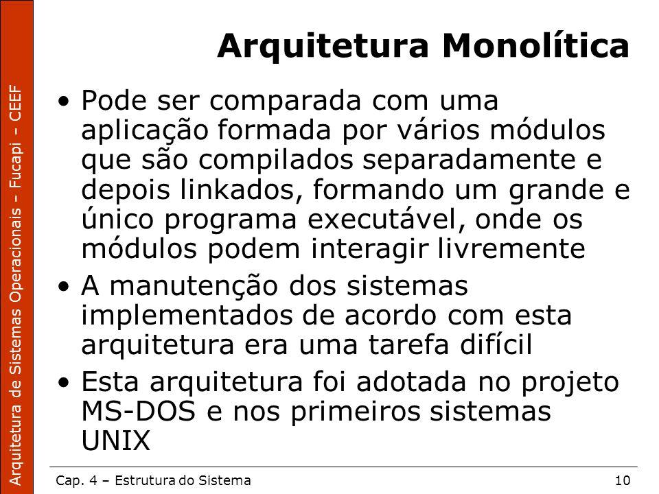 Arquitetura de Sistemas Operacionais – Fucapi – CEEF Cap. 4 – Estrutura do Sistema10 Arquitetura Monolítica Pode ser comparada com uma aplicação forma