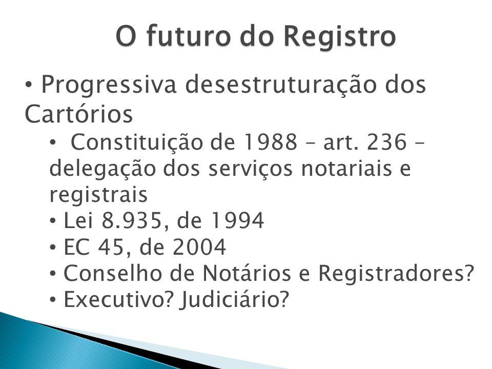 O futuro do Registro Progressiva desestruturação dos Cartórios Constituição de 1988 – art. 236 – delegação dos serviços notariais e registrais Lei 8.9