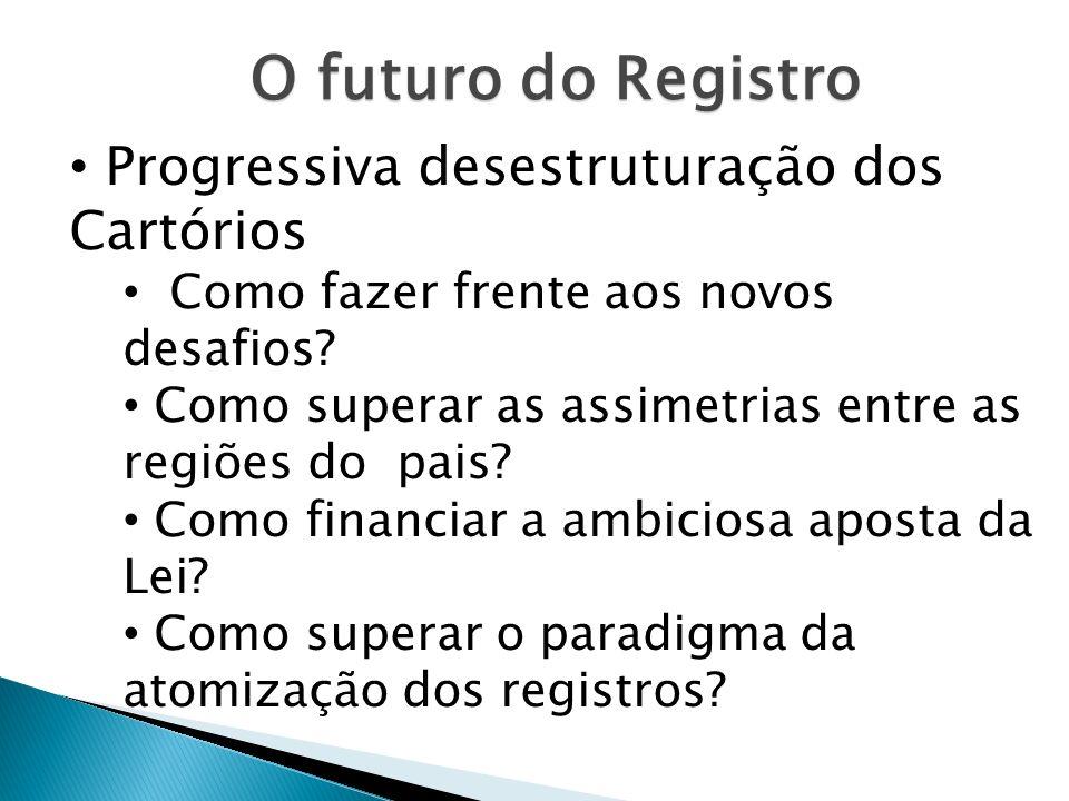 O futuro do Registro Progressiva desestruturação dos Cartórios Como fazer frente aos novos desafios? Como superar as assimetrias entre as regiões do p