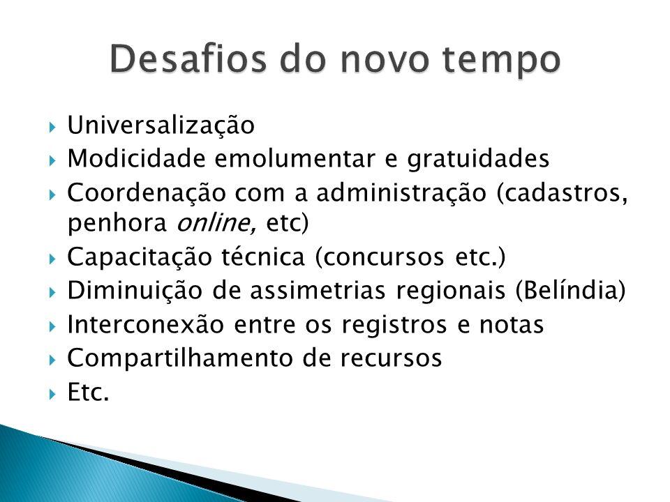 Universalização Modicidade emolumentar e gratuidades Coordenação com a administração (cadastros, penhora online, etc) Capacitação técnica (concursos e