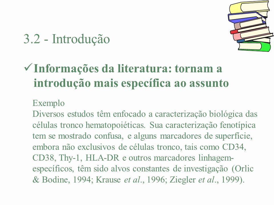 3.2 - Introdução Informações da literatura: tornam a introdução mais específica ao assunto Exemplo Diversos estudos têm enfocado a caracterização biol