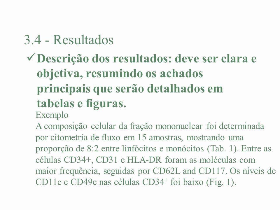 3.4 - Resultados Descrição dos resultados: deve ser clara e objetiva, resumindo os achados principais que serão detalhados em tabelas e figuras. Exemp