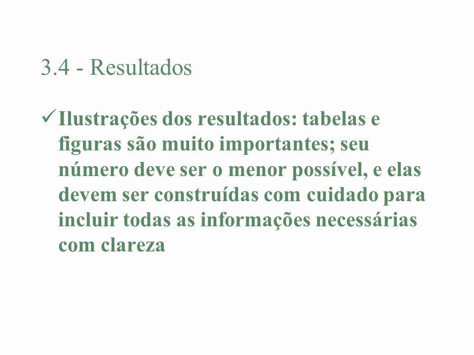 3.4 - Resultados Ilustrações dos resultados: tabelas e figuras são muito importantes; seu número deve ser o menor possível, e elas devem ser construíd