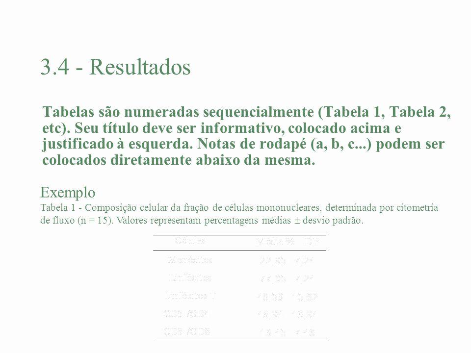 3.4 - Resultados Tabelas são numeradas sequencialmente (Tabela 1, Tabela 2, etc). Seu título deve ser informativo, colocado acima e justificado à esqu