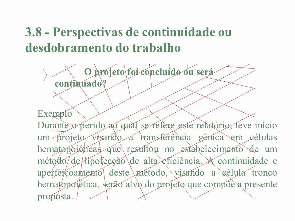 3.8 - Perspectivas de continuidade ou desdobramento do trabalho Exemplo Durante o perído ao qual se refere este relatório, teve início um projeto visa