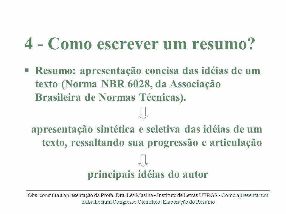 4 - Como escrever um resumo? §Resumo: apresentação concisa das idéias de um texto (Norma NBR 6028, da Associação Brasileira de Normas Técnicas). apres