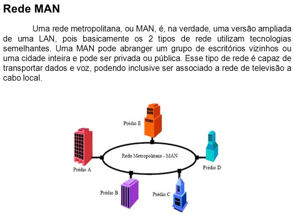 Rede MAN Uma rede metropolitana, ou MAN, é, na verdade, uma versão ampliada de uma LAN, pois basicamente os 2 tipos de rede utilizam tecnologias semel