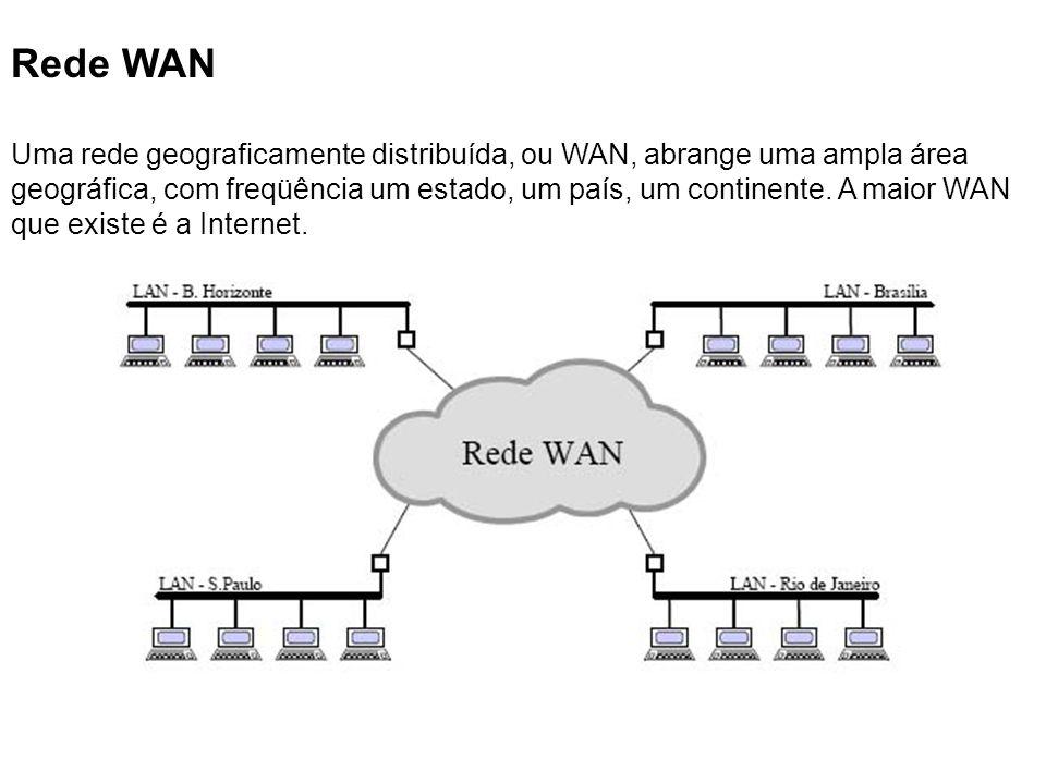 Rede WAN Uma rede geograficamente distribuída, ou WAN, abrange uma ampla área geográfica, com freqüência um estado, um país, um continente. A maior WA