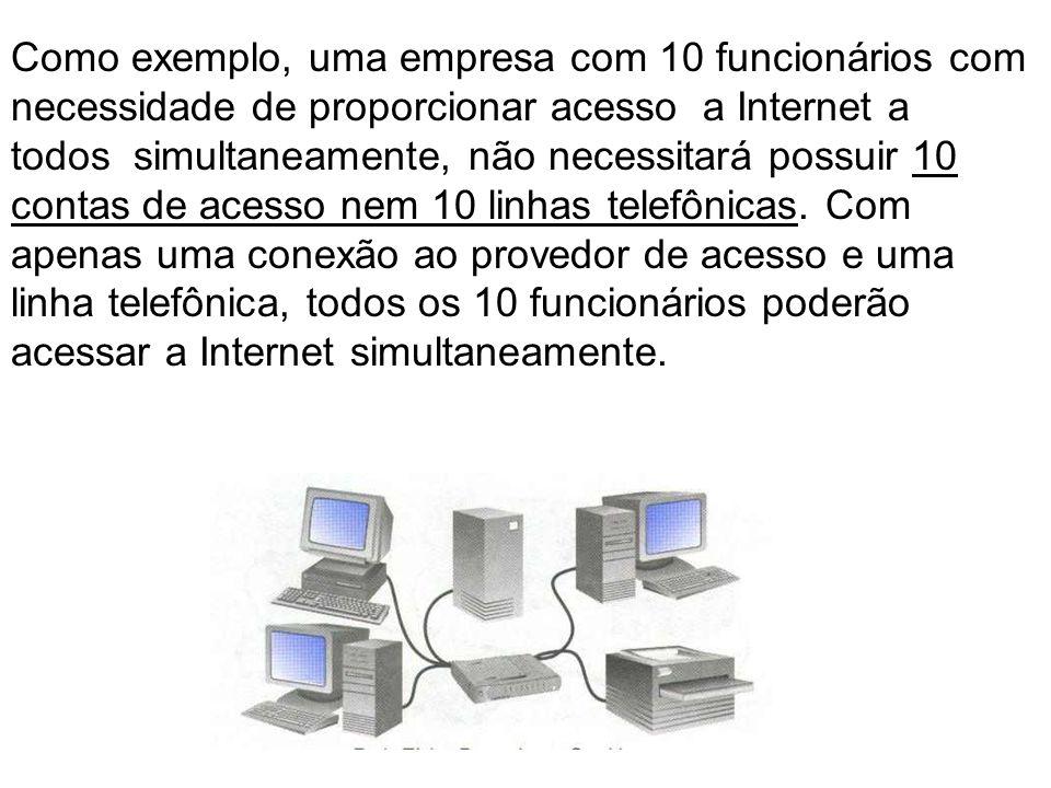 Como exemplo, uma empresa com 10 funcionários com necessidade de proporcionar acesso a Internet a todos simultaneamente, não necessitará possuir 10 co