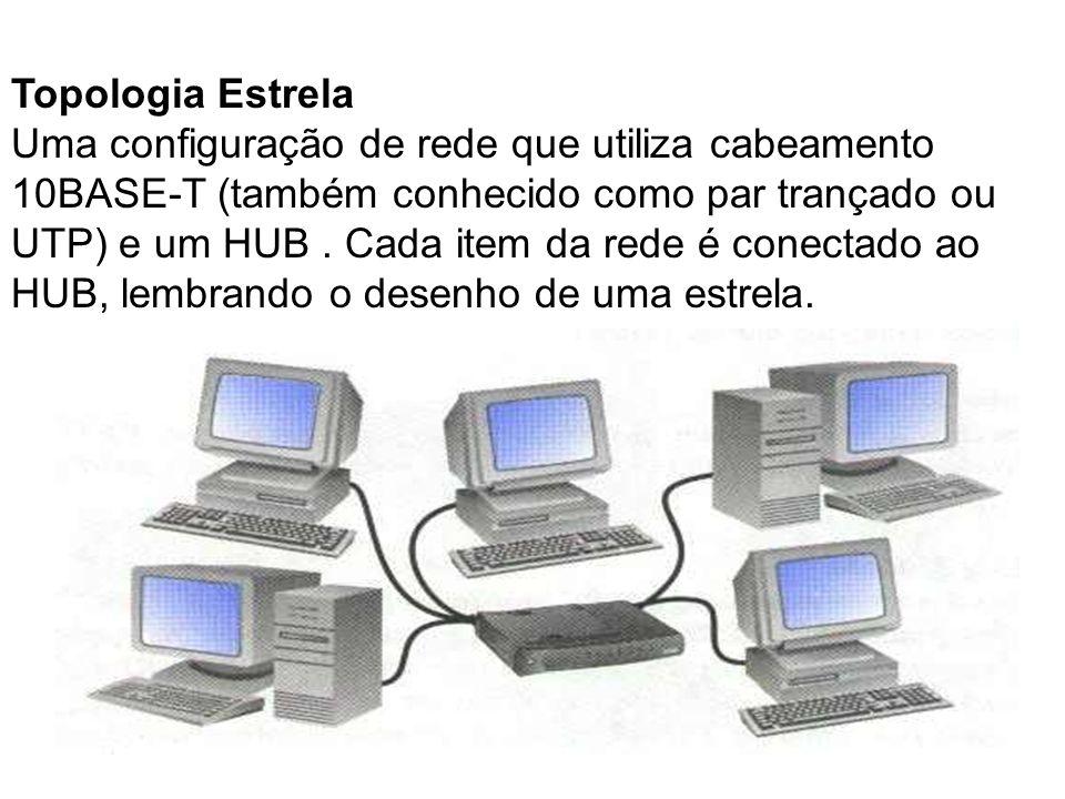 Topologia Estrela Uma configuração de rede que utiliza cabeamento 10BASE-T (também conhecido como par trançado ou UTP) e um HUB. Cada item da rede é c
