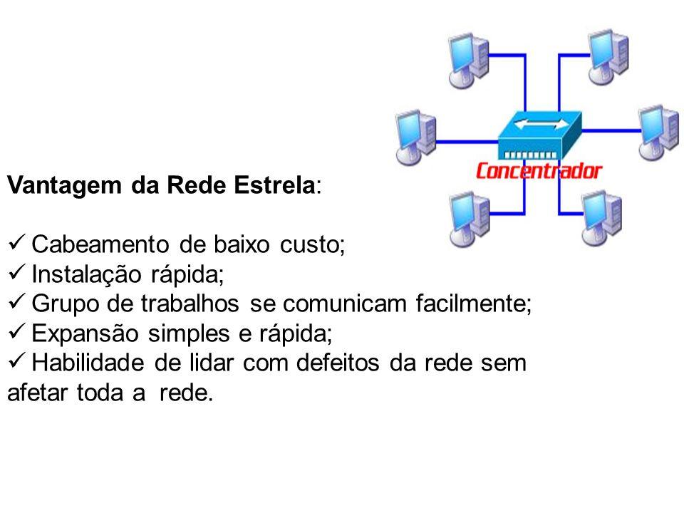 Vantagem da Rede Estrela: Cabeamento de baixo custo; Instalação rápida; Grupo de trabalhos se comunicam facilmente; Expansão simples e rápida; Habilid
