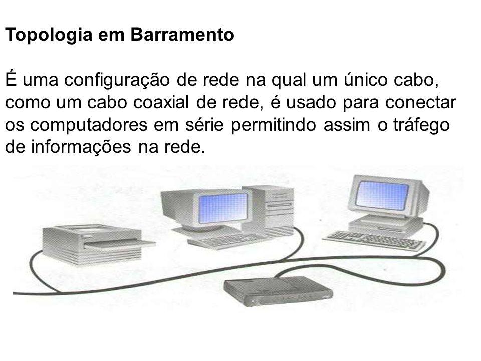 Topologia em Barramento É uma configuração de rede na qual um único cabo, como um cabo coaxial de rede, é usado para conectar os computadores em série