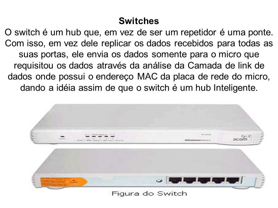 Switches O switch é um hub que, em vez de ser um repetidor é uma ponte. Com isso, em vez dele replicar os dados recebidos para todas as suas portas, e