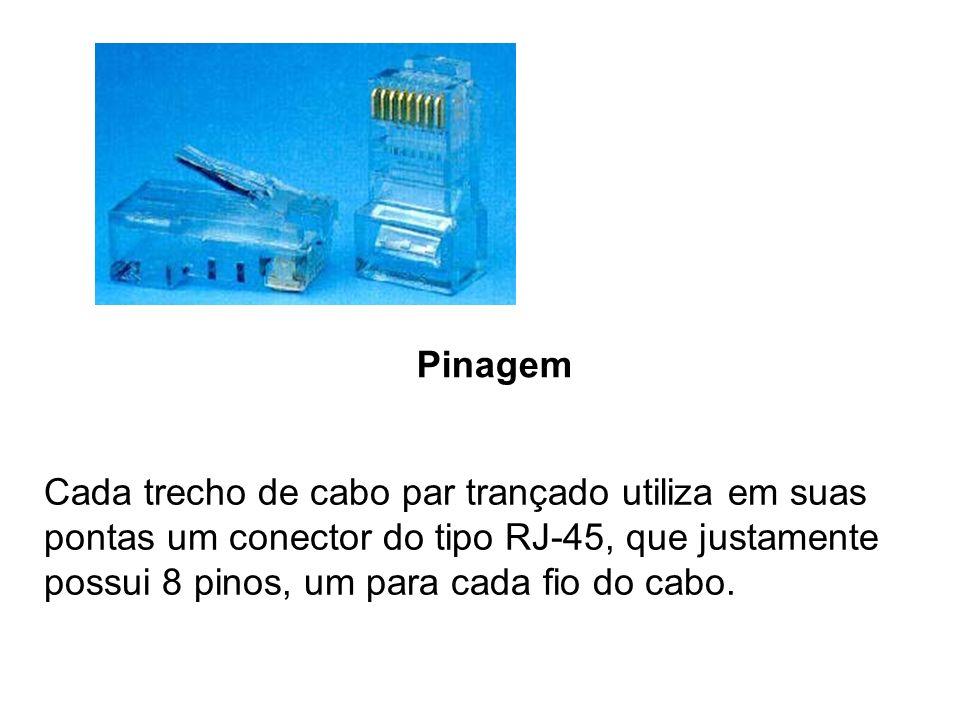 Pinagem Cada trecho de cabo par trançado utiliza em suas pontas um conector do tipo RJ-45, que justamente possui 8 pinos, um para cada fio do cabo.