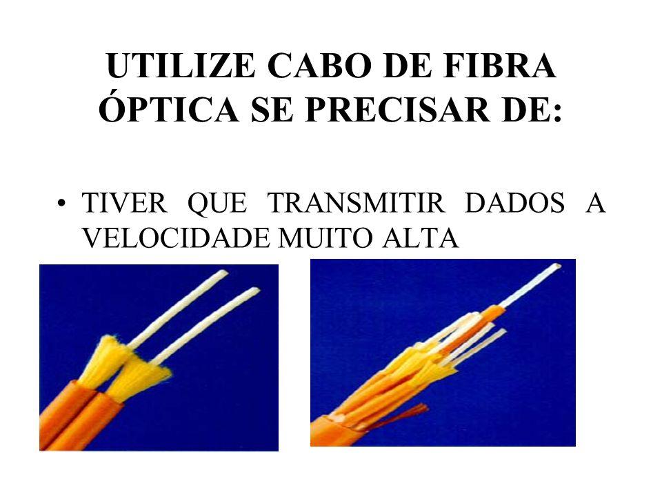 TIVER QUE TRANSMITIR DADOS A VELOCIDADE MUITO ALTA UTILIZE CABO DE FIBRA ÓPTICA SE PRECISAR DE: