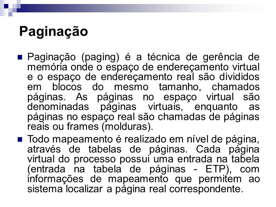 Paginação Paginação (paging) é a técnica de gerência de memória onde o espaço de endereçamento virtual e o espaço de endereçamento real são divididos