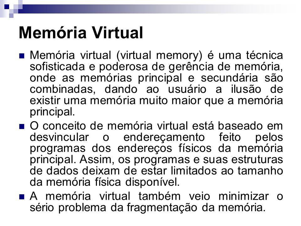 Memória virtual (virtual memory) é uma técnica sofisticada e poderosa de gerência de memória, onde as memórias principal e secundária são combinadas,
